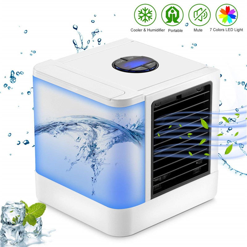Personal Air Conditioner Cooler Humidifier Mini USB 7 Color Light Desktop Air Cooling Fan Portable Evaporative Air Cooler