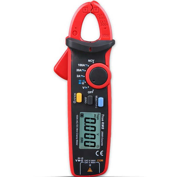 Digital Auto True RMS Clamp Multimeter Mini Clamp Meter Ammeter Voltmeter Resistance Capacitance Tester Earth Ground Multimeter