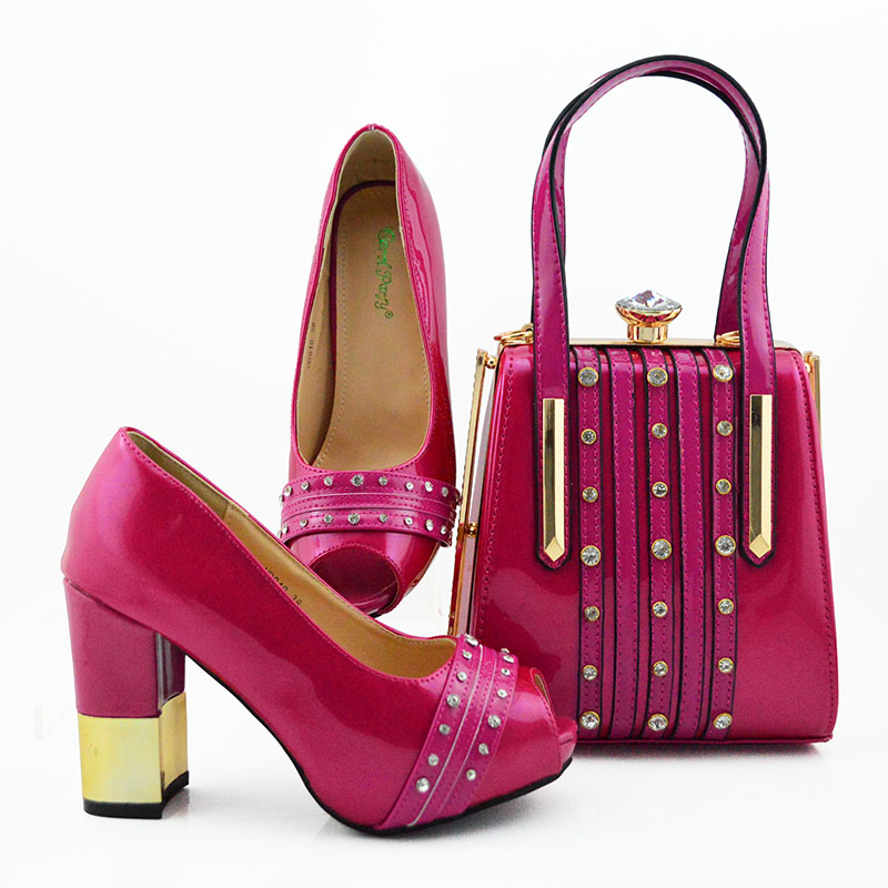 Free shipping fushia hot pink color italian shoes and bag matching set with middle heel 3.7 inches italian shoe and bag SB8390-9Free shipping fushia hot pink color italian shoes and bag matching set with middle heel 3.7 inches italian shoe and bag SB8390-9