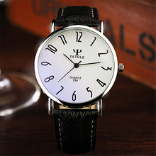 YAZOLE new brand lovers Watches women men Leather Clear digital scale round dial clock waterproof Blue glass Quartz WristWatches