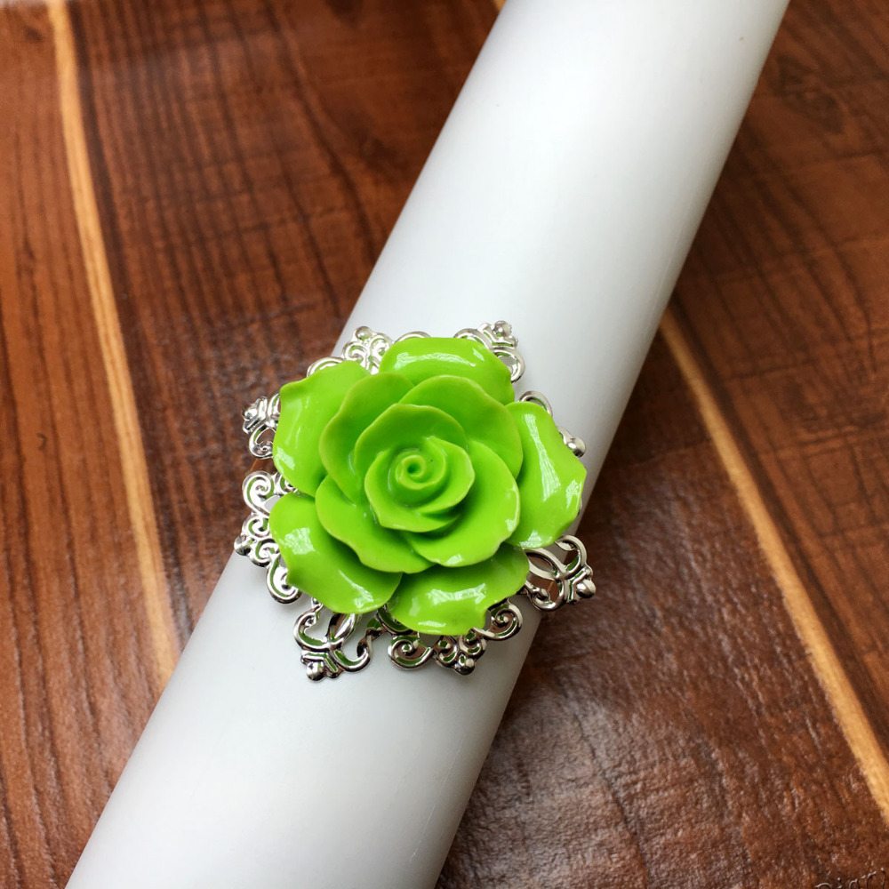 50pcs/lot Green Rose Napkin Rings Silver Hoops Romantic Nice Looking Weeding Party Table Decoration