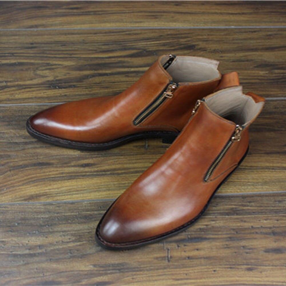 SIPRIKS italien double fermeture éclair bottes hommes couture welt chaussures bout pointu bottes en cuir de veau rétro fête bottines patine chaussures de plein air - 2