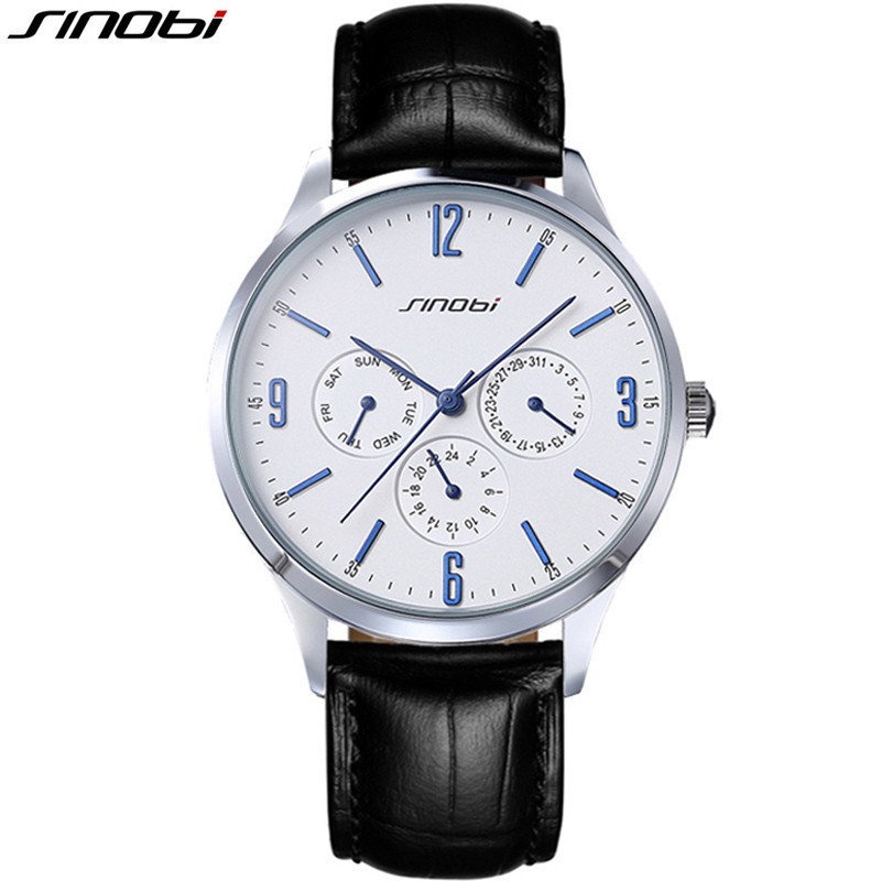 SINOBI New Ultra Slim Quartz-watch Men Black Leather Military Sport Mens Watches Top Brand Luxury Casual watch relogio masculino sinobi new slim clock men casual sport quartz watch mens watches top brand luxury quartz watch male wristwatch relogio masculino page 6