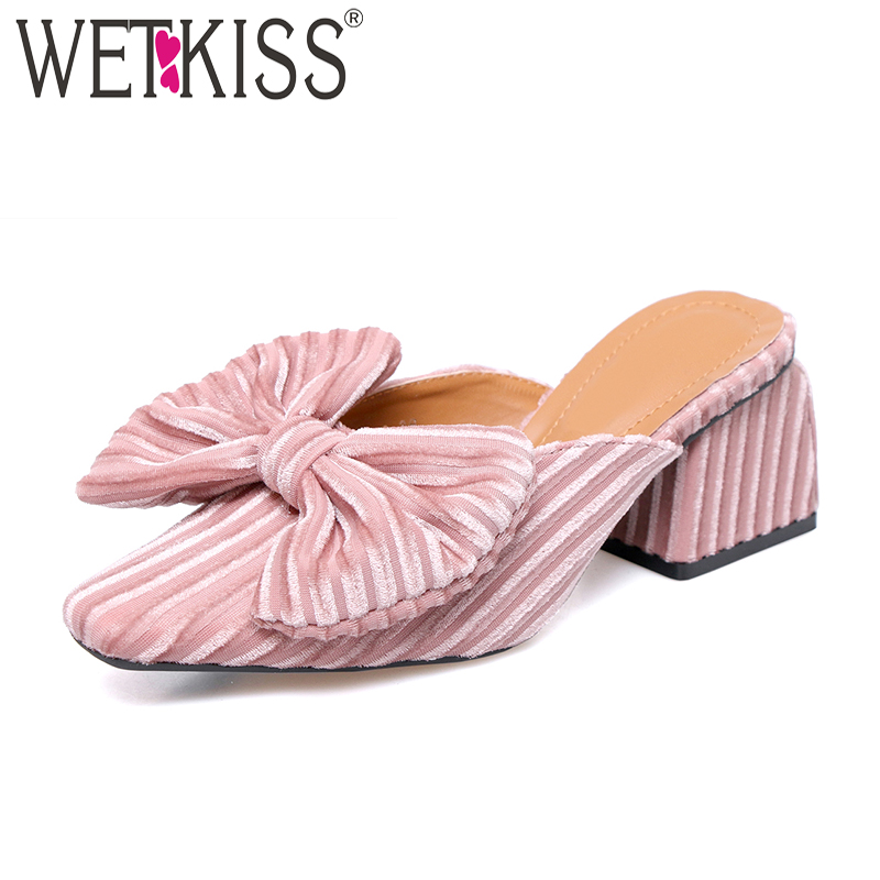 WETKISS 2018 High Heels Ladies Slippers Butterfly Knot Corduroy Hoof Heels Slides Footwear New Summer Fashion Women Mules Shoes кран royal thermo шаровый optimal 2 rto 07072