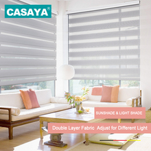 Shell Valance System Transparent Zebra Blinds Double Layer light shading Window Roller Blinds for Living Room Bedroom Study