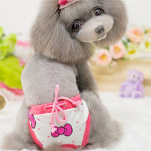 S-L Pink Bowknot Female Dog Physical Pant Washable Pet Underwear Sanitary Pants Elastic Diaper for Small Dog Wholesale noNV10