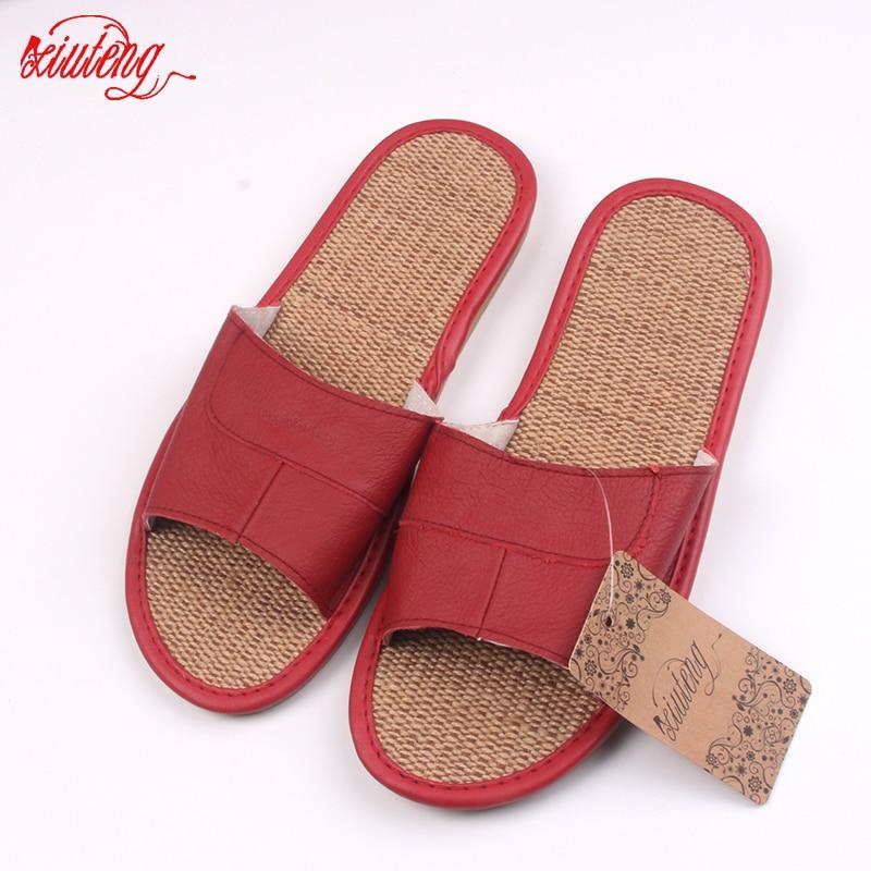 Xiuteng 2018 Cool Animal Zapatillas de cuero Verano de cuero Lino Zapatillas para hombre Chanclas de playa Sandalias con pisos Casual