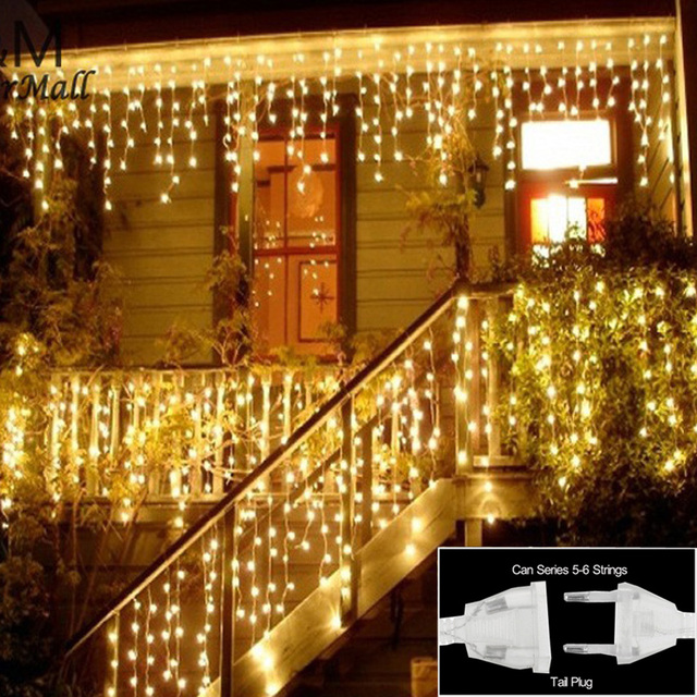 Christmas Lights Indoor Outdoor Decoration 3.5m Droop 0.3 0.5m Curtain  Icicle String Led