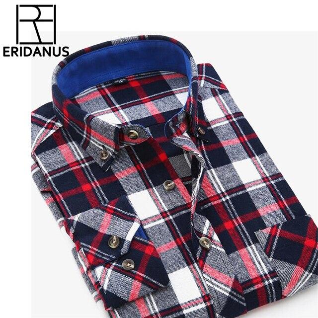 2017 Autumn Men Shirt Fashion Plaid Slim Fit Dress Long Sleeve Button-Down Brand Winter Mens Shirts Social Free Shipping X094