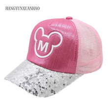 Children Hip Hop Baseball Cap Summer Baby Girls Sequins M letters  Sun Hat Boys Girls Snapback Mesh Caps Leisure Student Ha fashion new children ny letters baseball cap kid boys girls bones snapback hip hop flat hat baby casquette