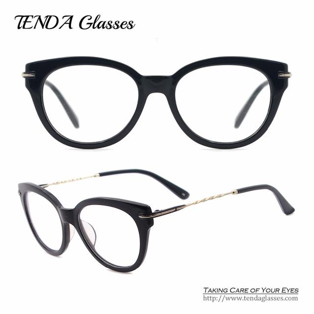 Mulheres Óculos De Acetato De Óculos Big Rodada Óculos Armações Para Óculos de grau