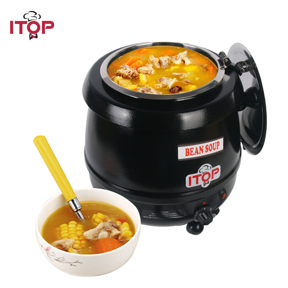 все цены на ITOP Commercial 5.7L/10L Electric Soup Kettle Soup Pots With Lids For Buffet Restaurant 110V/220V Kitchen Food Processors онлайн