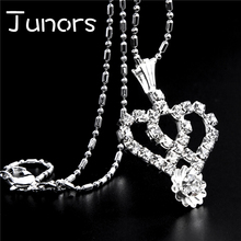 JUNORS Crown Necklace Queen of Hearts Jewelry Two Heart Lovers necklace  Crystal Wedding choker necklace Jewelry for Lady Gifts