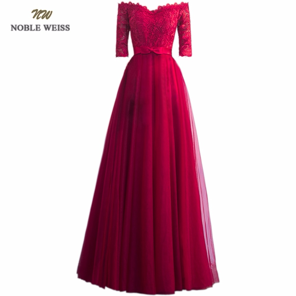 NOBLE WEISS Floor-Length Lace   Evening     Dress   Robe De Soiree Courte Elegant 2019 Half Sleeve Tulle Dinner Party   Dress     Evening   Gown
