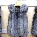 2016 Luxury Ladies' Real Silver Fox Fur Vest Waistcoat Winter Women Fur Gilet Female Outerwear Coats 0709