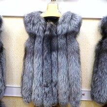 2016 Luxury Ladies Real Silver Fox Fur Vest Waistcoat Winter Women Fur Gilet Female Outerwear Coats