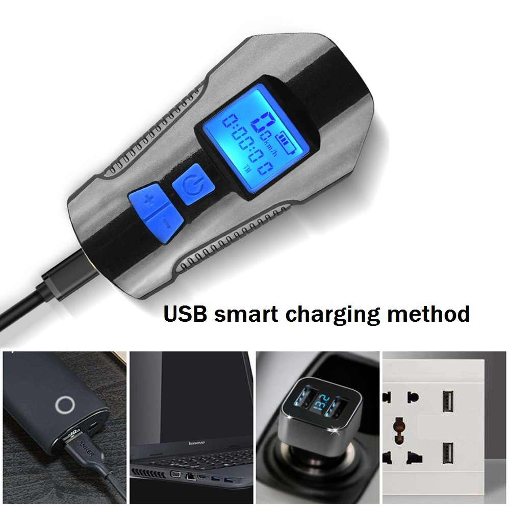 LED Fahrradlampe USB Fahrradbeleuchtung Vorne Lampe Horn Kilometerzähler