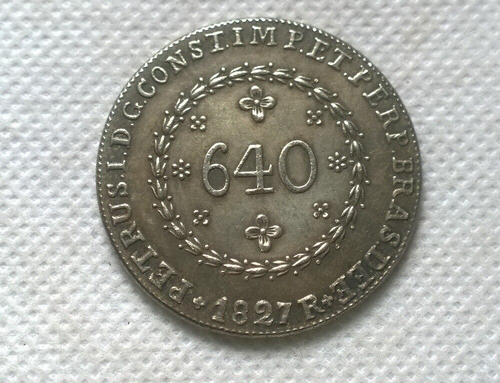 1823 Бразилия 640 Reis МОНЕТА КОПИЯ БЕСПЛАТНАЯ ДОСТАВКА