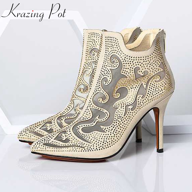 Krazing Pot high street fashion bling diamond crystal mesh ankle summer boots high heels stiletto gorgeous pointed toe shoes L89Krazing Pot high street fashion bling diamond crystal mesh ankle summer boots high heels stiletto gorgeous pointed toe shoes L89