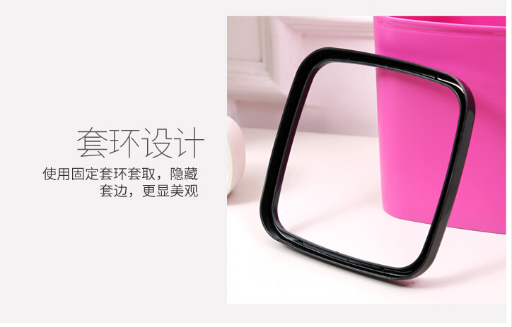2018Plastic mini Trash family car office desk without cover square plastic trumpet tubular container wastebasket LH0166