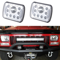 2 PCS Square 7 inch led Truck headlight with Angel eyes 5 x 7 55W 12V 24V led headlamp H6054 H5054 H6054LL 69822 6052 6053