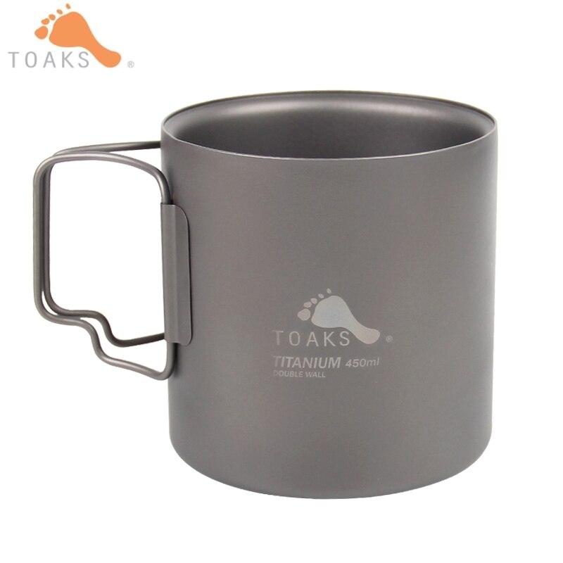 TOAKS 450 ml titane Double paroi tasses en plein air potable tasse Portable voyage Camping eau tasse sans couvercle 132g CUP-450-DW