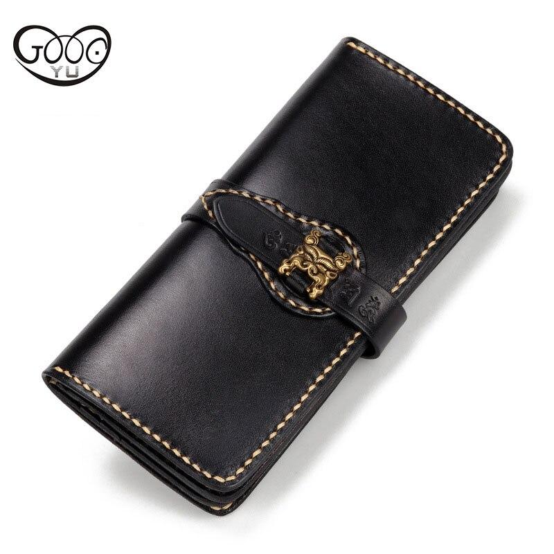 Original nouvelle main portefeuille de pompage la première couche de peau de vache rétro Jiugong portefeuille long personnalité grande capacité sac