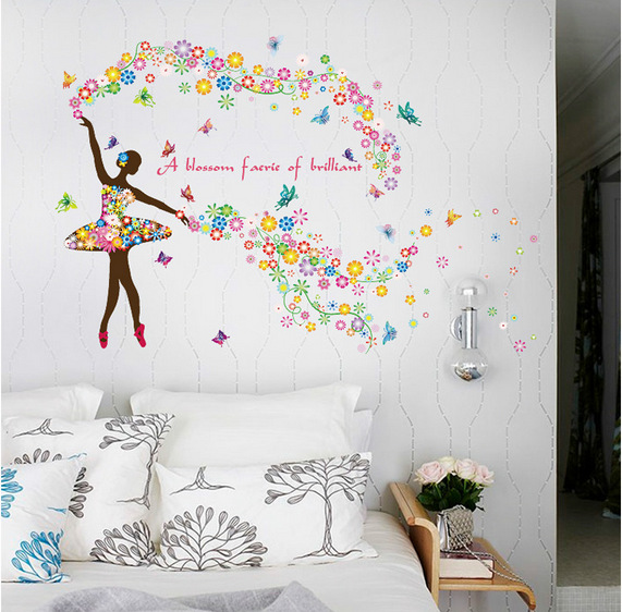 charming bedroom wall art stickers | & Charming Fairy Girl dancing Wall Sticker Kids Rooms ...