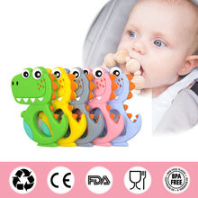 Safe Cartoon Baby Teethers BPA Free Cute Animal Dinosaur Infant DIY Ring Teether Toddler Silicone Chew Charms Kids Teething Toys(China)