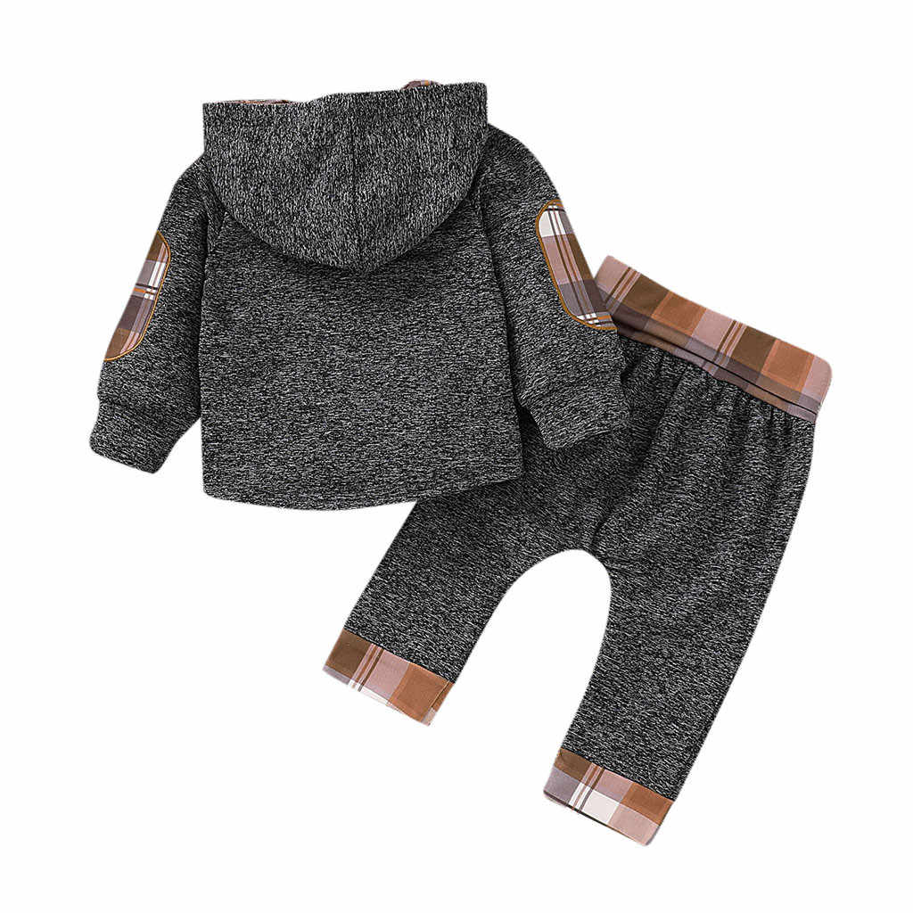 Little Kid Winter Keep Warm Clothing Set Baby Boys Girls Cotton Long Sleeve Plaid Hoodie Pocket Sweater + Pants Two-Piece Set