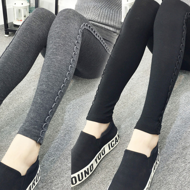 New Women Casual Basic Autumn Winter pencil leggings Trousers Stretch Cotton Leg Pant Long pants patchwork Plus Size