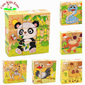 Cute Children Wooden Cartoon Animal Puzzle Toys 6 Sides Wisdom Jigsaw Puzzle Early Education Toys Parent-Child Game MPT001