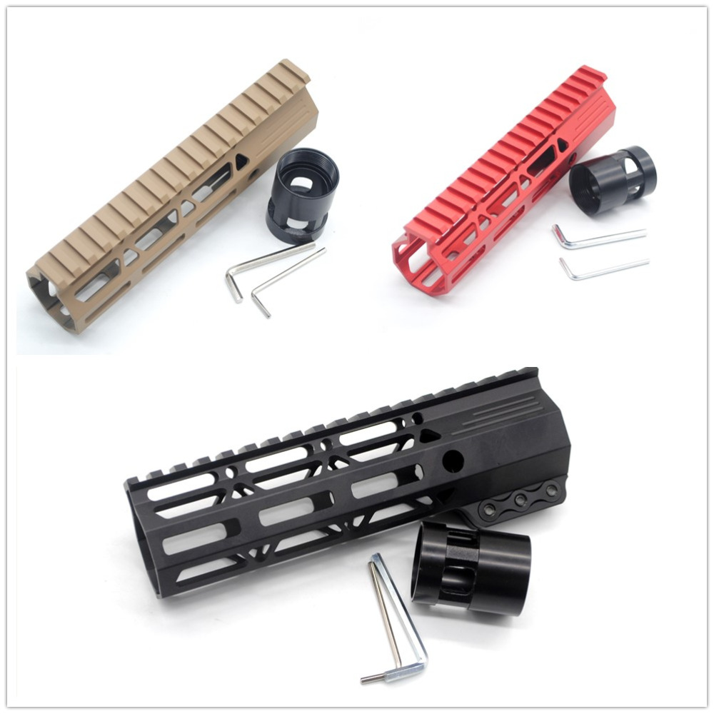 Tactical AR15 Black/Red/ Tan 7'' Inch Clamping Free Float M lok Handguard Rail Mount System .223