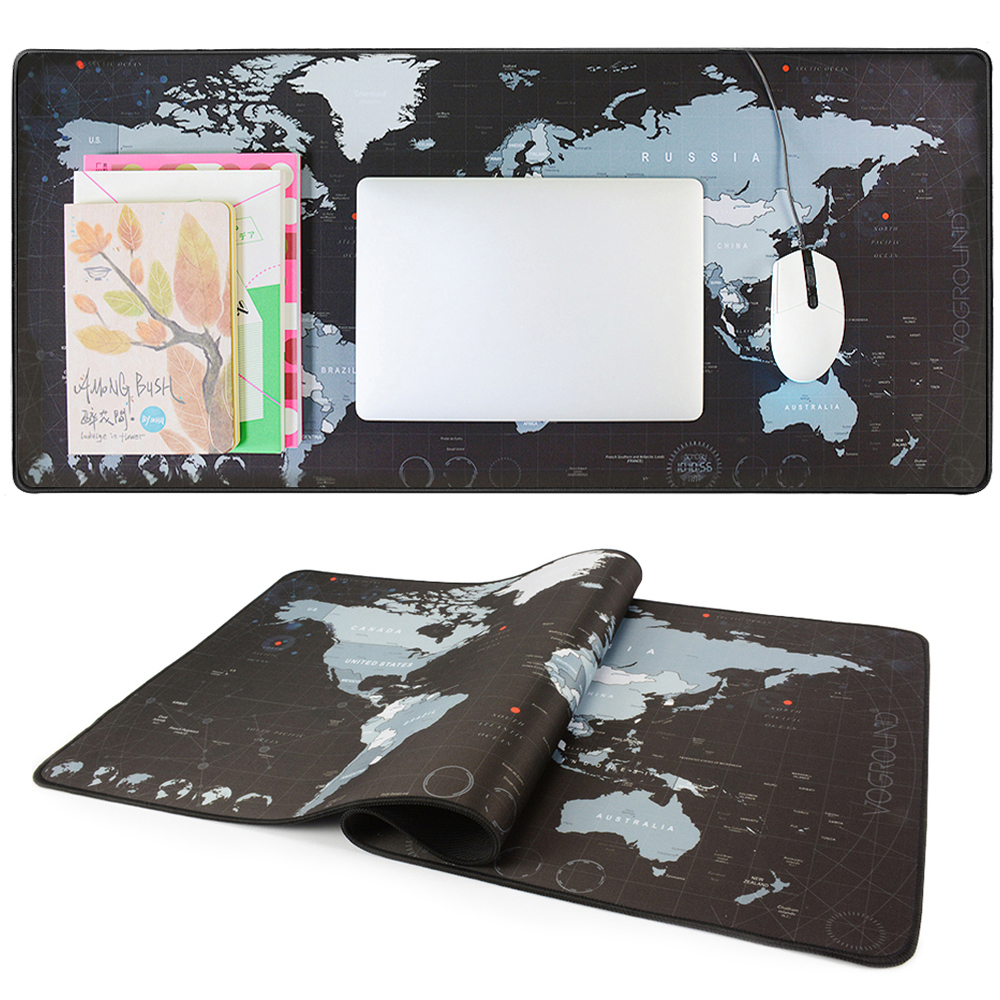 VOGROUND Gaming musematte New World Map Large Mousepad Anti-slip Låsekant Vanntett Natural Rubber Desk Mus Matta