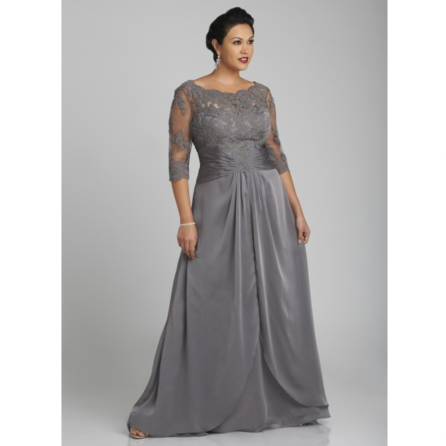 Plus Size Mother Bride Dresses: 2017 Plus Size Gray Mother Of The Bride Dresses Sheer
