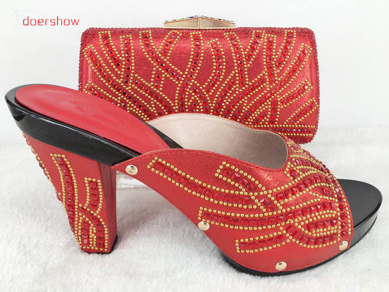 doershow New arrival Italian shoes with matching bags set in red color African woman shoes and bag set free shipping Hlu1-47 цены онлайн