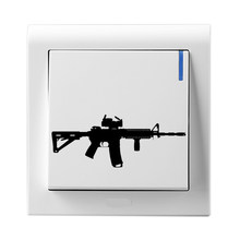 AR-15 Gun Shooting Vinyl Wall Stickers Decor Light Switch Decals 5WS0257(China)