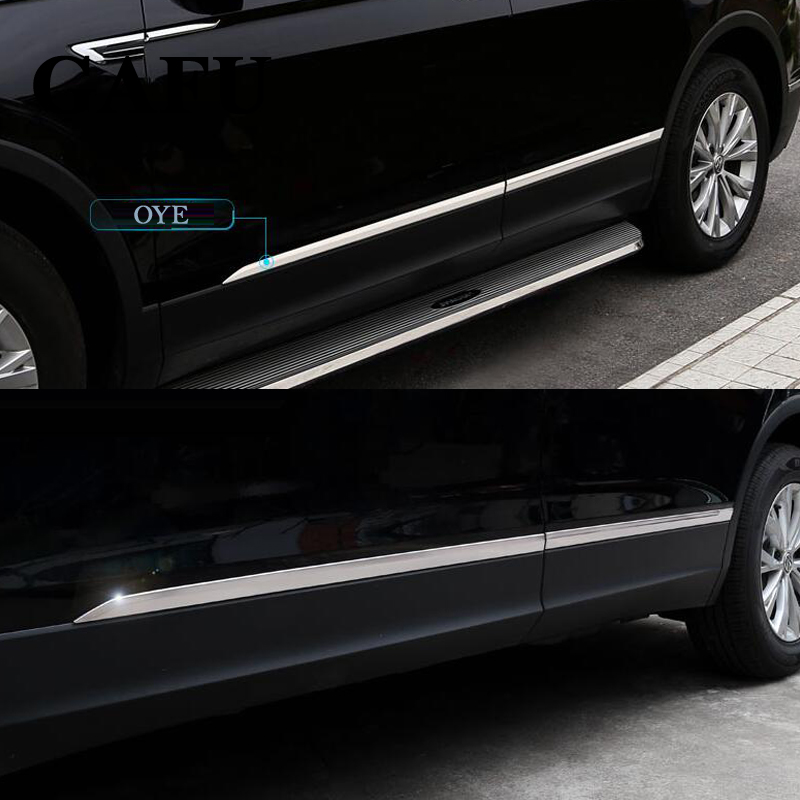 For vw tiguan mk2 Accessories Stainless Steel Car Body Scuff Strip Side Door Molding Streamer Cover