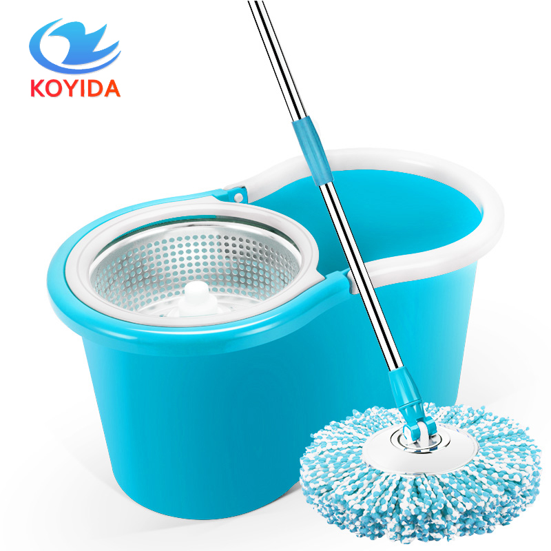 KOYIDA 360 spin <font><b>Mop</b></font> bucket sets Portable Magic double drive Stainless steel hand pressure rotating with head floor cleaning TB03