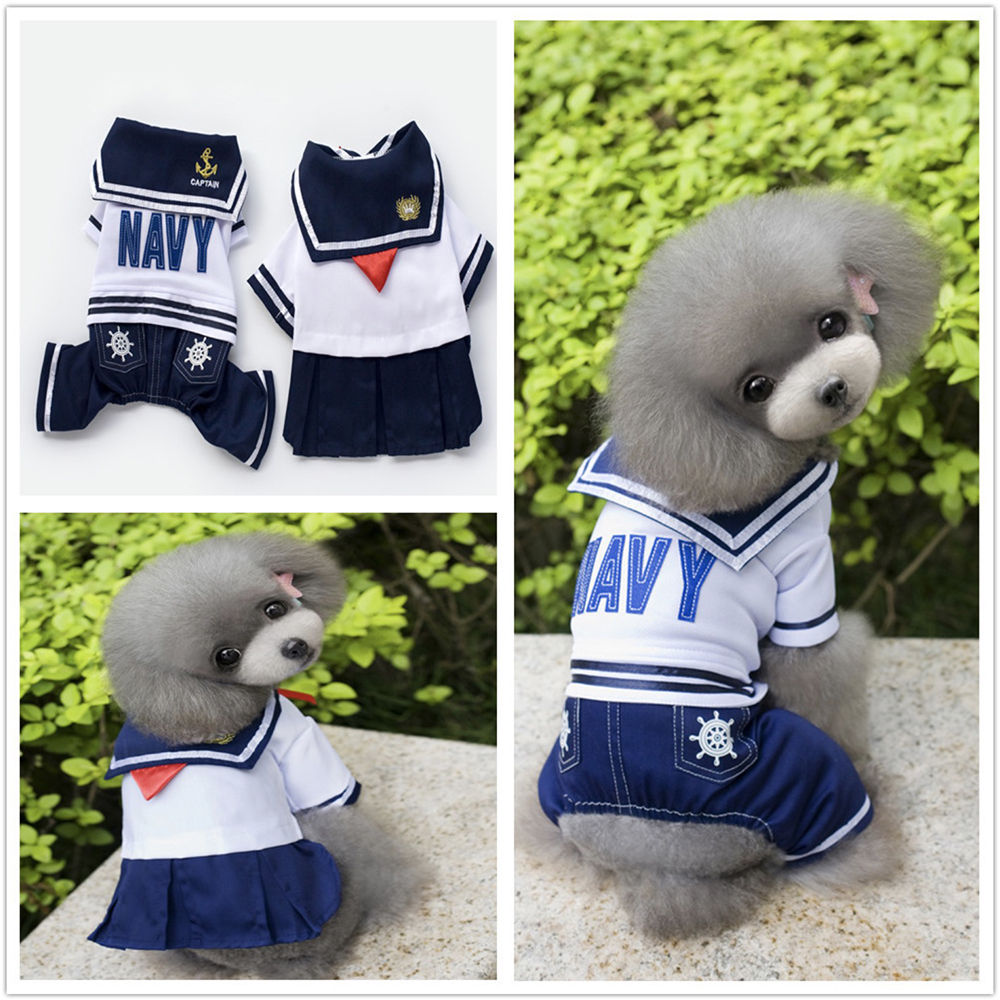 2018 Navy Style Pet Dog Clothes Navy Costume For Small dogs Dress Pet Sailor Uniform Clothing Summer Shirt Puppy Outfit For Dogs in Dog Dresses from Home Garden