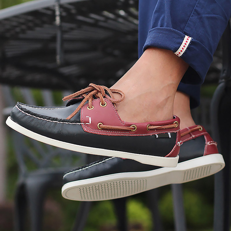 Men's Shoes Made Of Genuine Leather Mixed Colors Boat Shoes For Men Waterproof Sewing Colorful Driving Sneakers Male Fashion