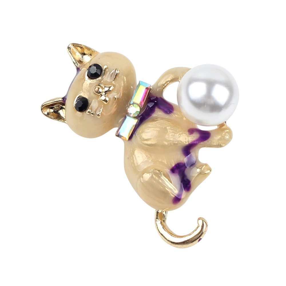 Bonsny Alloy Enamel Dasi Kucing Mutiara Bros Berlian Imitasi Pin untuk Wanita Wanita Dekorasi Aksesoris Baru Syal Baru Perhiasan