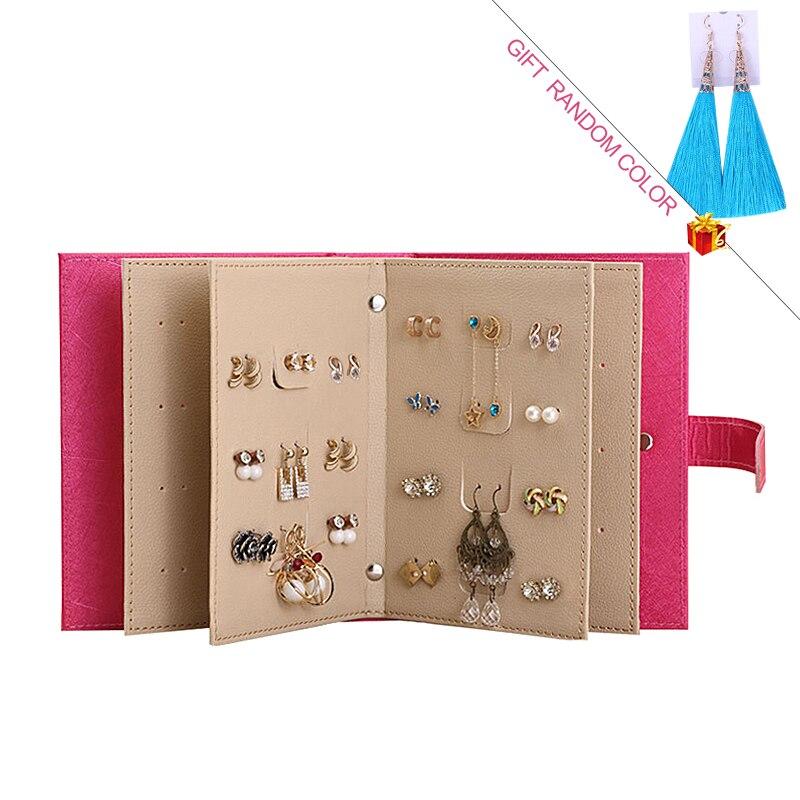 PU Leder Make-Up Veranstalter Tragbare Mode Frauen Ohrringe Sammlung Halskette Schmuck Buch Display Box Organizer Zubehör