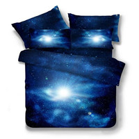 2017 new 3D Galaxy Clouds Starry Sky Bedding Set for Teen 2/3/4 pcs Twin/Queen Size Duvet Cover Bedspread Sheet Pillowcase Blue