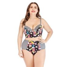 Plus Size Bikini Push Up Patchwork Swimsuit High Waist Swimwear Floral Swimsuit Bikini Striped  Large Sizes 2019 Women Crop Top