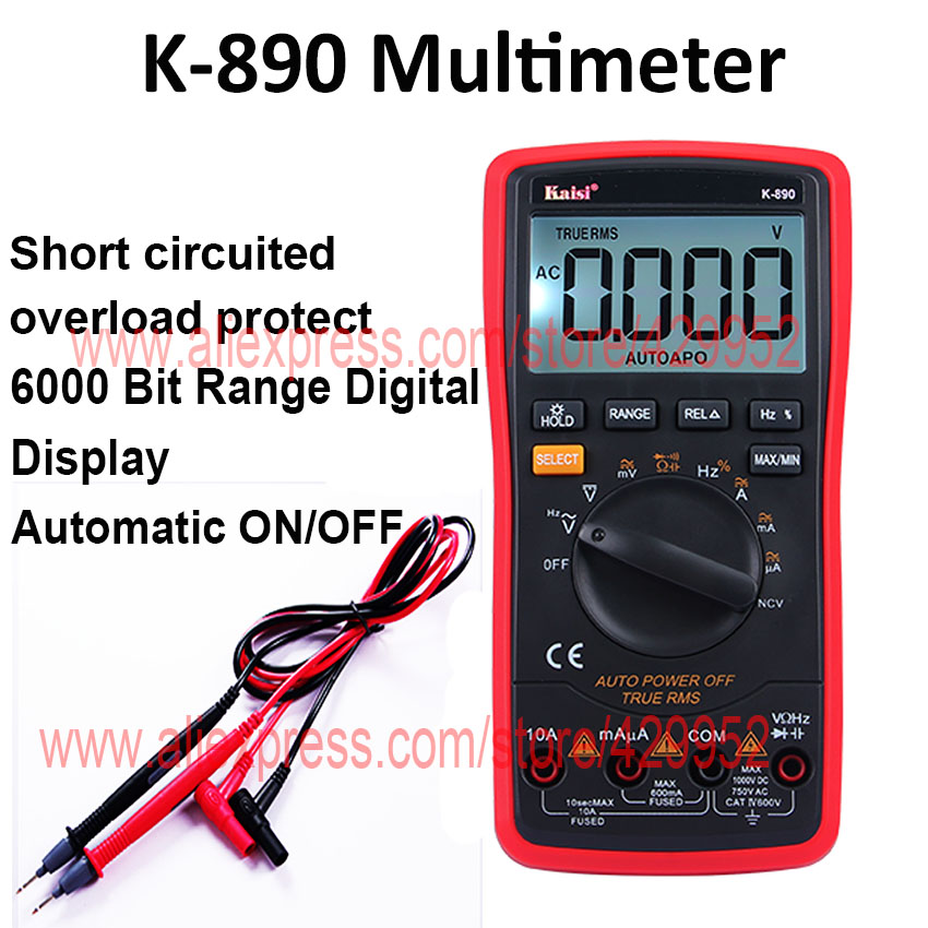 K-890 Digital Multimeter Ammeter For Test AC/DC Alternating Direct Current OHM Capacitance Diode 1 pcs mastech ms8269 digital auto ranging multimeter dmm test capacitance frequency worldwide store