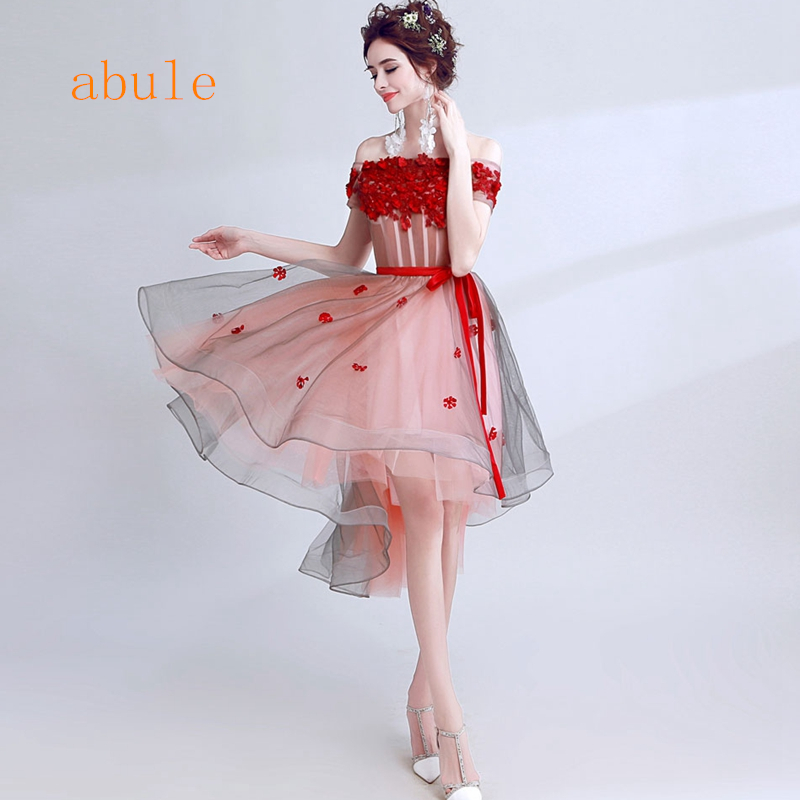 abule 2017 Robe De Soiree lace up Beading Lace flowers Short   Evening     Dresses   women luxury Formal Gown Prom   Dresses   robe rouge
