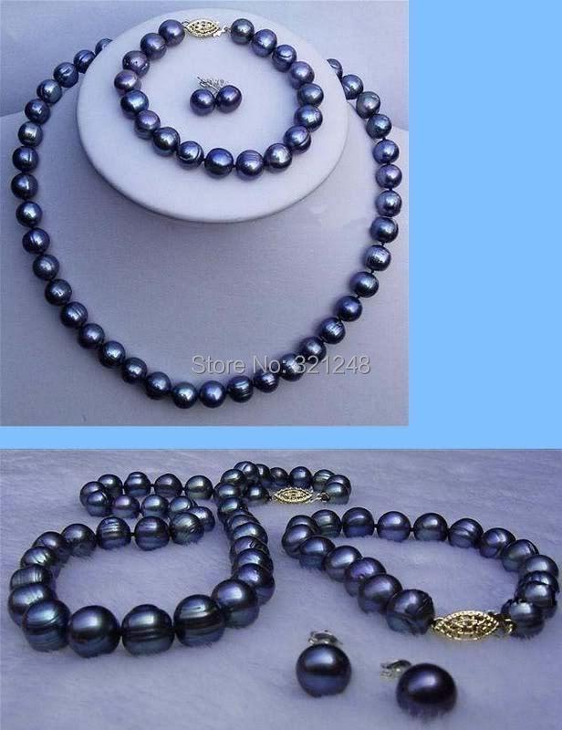 78fea781bcb1 Pretty 2014 envío libre encantador 8-9mm negro collar de perlas y pulsera y  aretes BV466