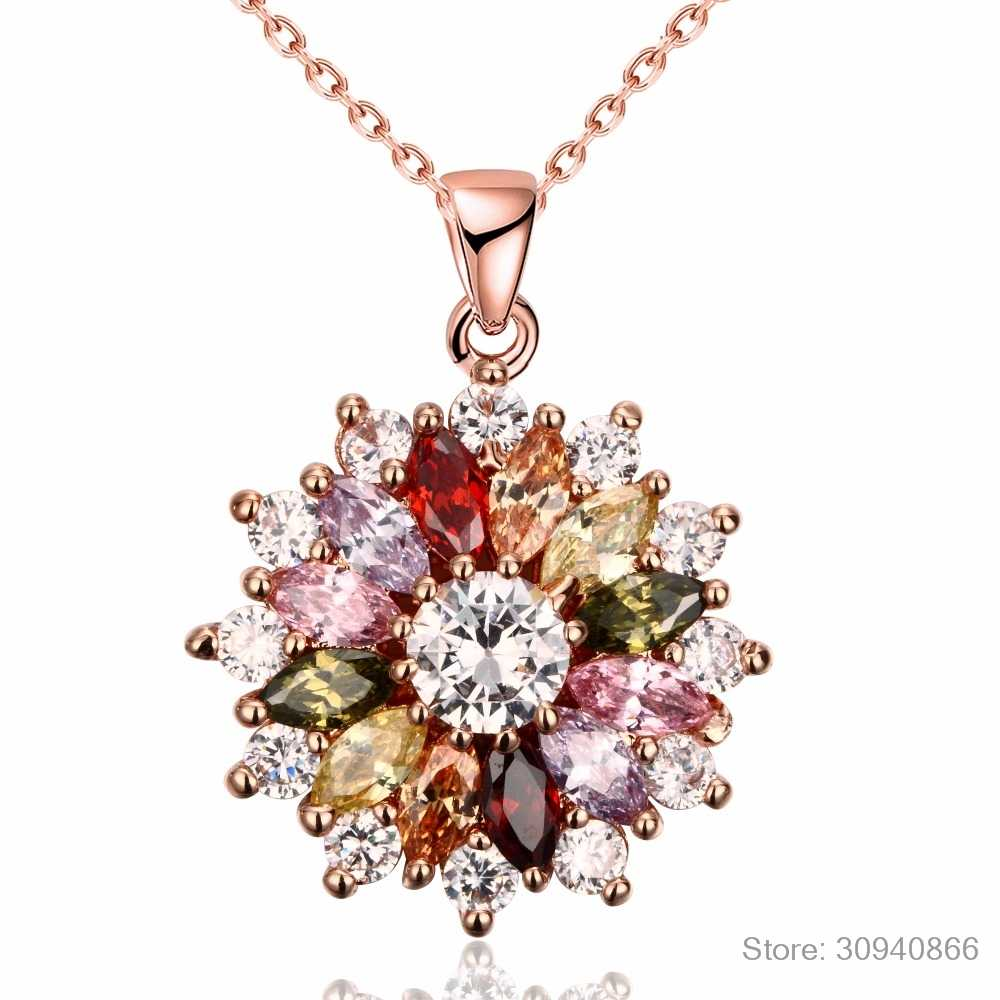 2019 New Luxury brand Fashion Jewelry Crystal from Swarovski Mona Lisa Colored Zircon Pendant Round Flower Moon Round Necklace