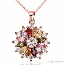 2019 New Luxury brand Fashion Jewelry Crystal from Swarovski Mona Lisa Colored Zircon Pendant Round Flower Moon Round Necklace(China)
